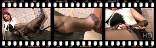tickling in black pantyhose